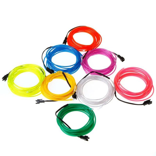 3M Flexible Neon Light EL Wire Rope Tube with Controller Lemon/Red ...