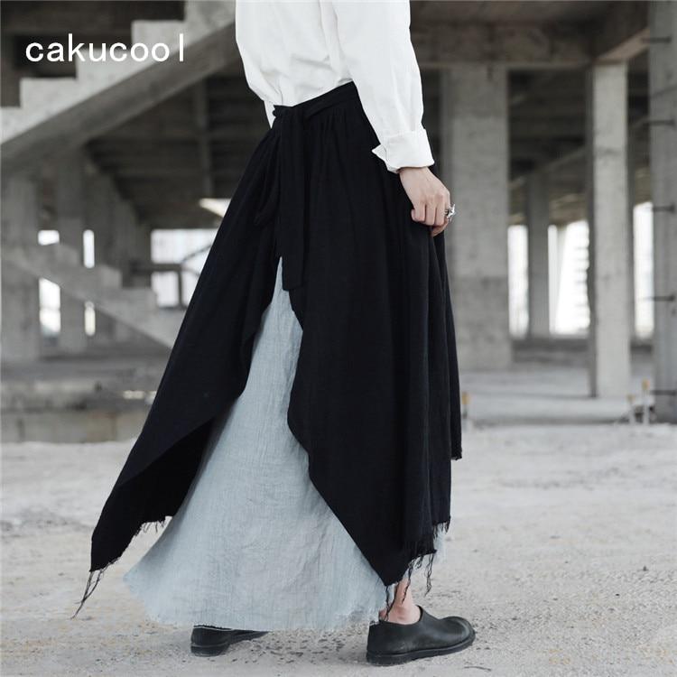 Noir Japonais Taille Cassé Femmes Longue Maxi Nouveauté Déchiré Asymétrique Nouveau Jupe Cakucool Jupes Linge Haute Mi Gothique Goth w7aHBq