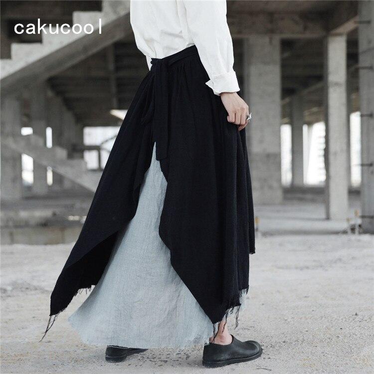 Cakucool جديد غير المتماثلة تنورة النساء القوطية كسر ممزق الجدة عالية الخصر التنانير القوطي اليابانية منتصف طويلة الكتان تنورة الأسود ماكسي-في تنورة من ملابس نسائية على  مجموعة 1