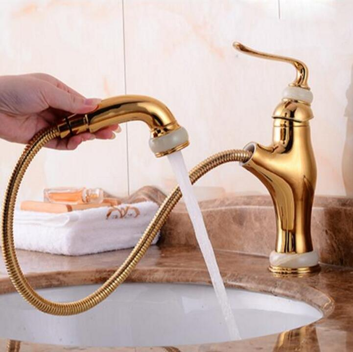 New jade and brass faucet gold pull out bathroom basin faucet ,Luxury sink tap basin mixer High Quality water tap rose gold brass bathroom pull out sink faucet with natural jade marble basin mixer torneira single hole handle water tap