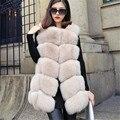 Genuine Fox fur coletes casacos de inverno fsahion das mulheres O-pescoço sem mangas Médio estilo Coreano solto fourrure verdadeiro casacos de peles naturais