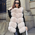 Women's Genuine Fox fur vests winter fsahion coats O-neck sleeveless Medium Korean style loose fourrure real natural fur jackets