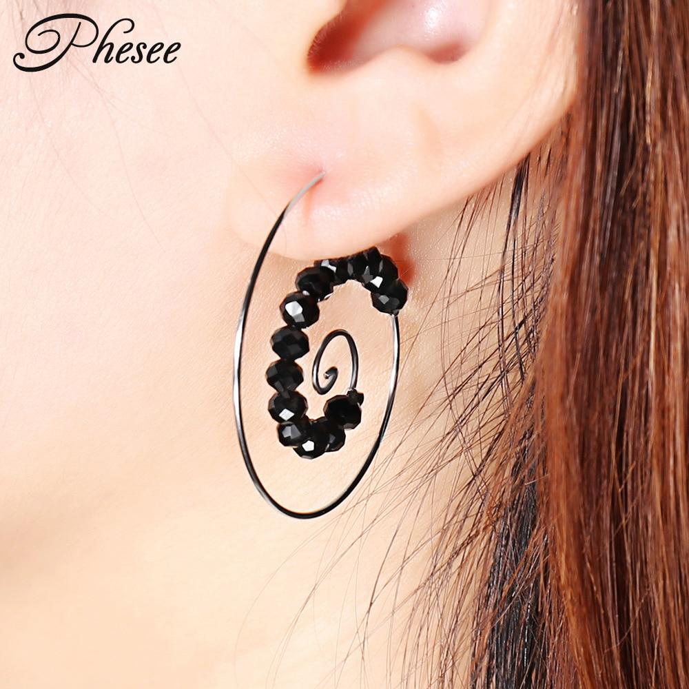 9c82f28c9 Phesee New Fashion Swirl Hoop Gypsy Indian Tribal Bohemian Earrings for  Women Black Beads Boho Spiral Jewelry Accessories