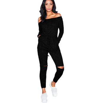 Wjustforu Sexy Off Shoulder Jumpsuits Women Long Sleeve Casual Rompers Knitted Hole Jumpsuit Female Elastic Waist Overalls 1
