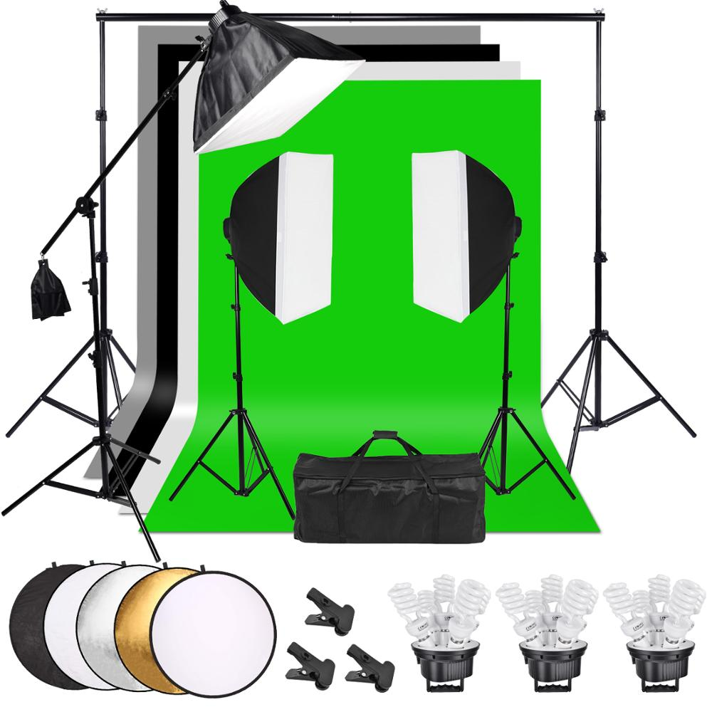 ZUOCHEN 3375W Photo Studio Softbox Continuous Lighting Kit Boom Arm Backdrop Light Stand