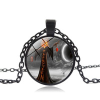 12 Colors Hot 2017 Necklaces Unisex Cute Vintage Happy Halloween Glass Chain Pendant Necklace NEW Dropshipping AG22