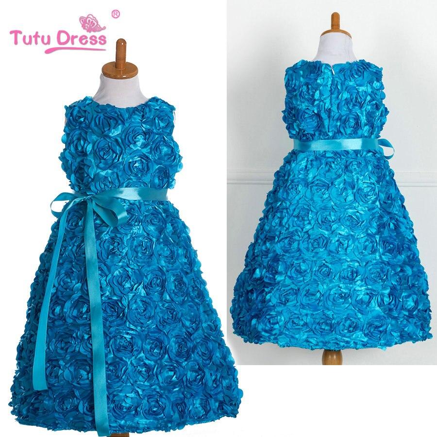 TUTU DRESS Girls Rosette Flower Birthday Party Prom Dresses Baby ...