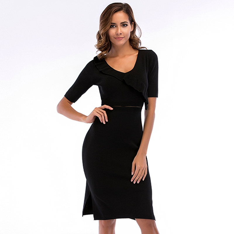 Hollow Out Sexy Knitted Bodycon Dress Women Short Sleeve Summer Solid Black Dress Bandage Club Party Elegant Sexy Dress Vestidos shining beauty top quality women sexy long sleeve beading black bandage dress 2017 knitted elegant designer dress