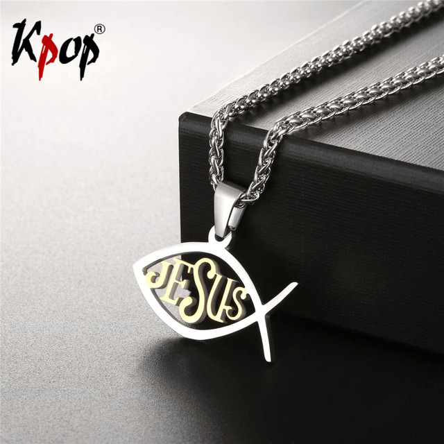 Kpop christian fish necklace goldblack color stainless steel kpop christian fish necklace goldblack color stainless steel wholesale trendy jesus animals necklaces aloadofball Image collections