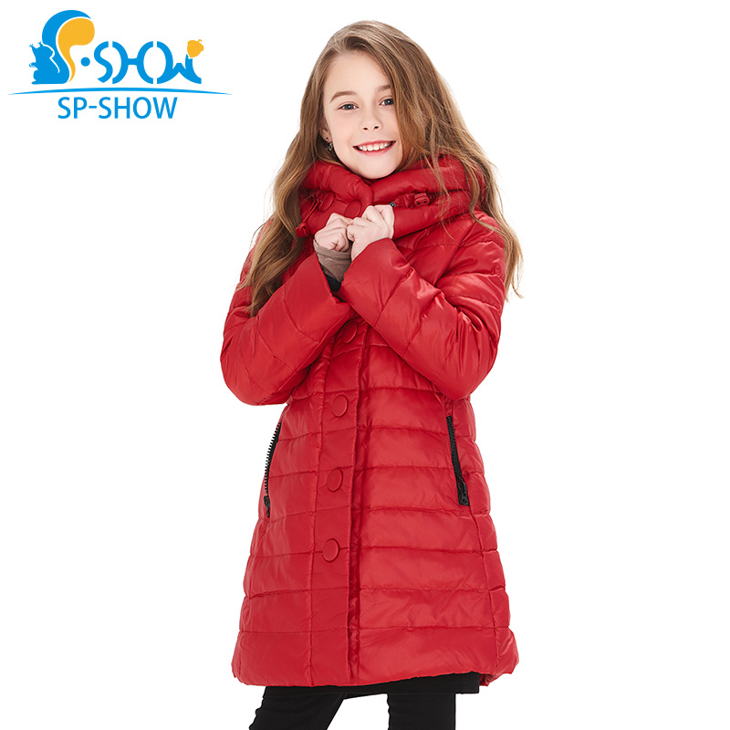 BUY 1 COAT GET 1 FREE SCARF -30 degrees SP-SHOW Winter 90% White down coats With Hood Warm Jacket For 4-9Y Girl Winter Jacket new 2017 men winter black jacket parka warm coat with hood mens cotton padded jackets coats jaqueta masculina plus size nswt015