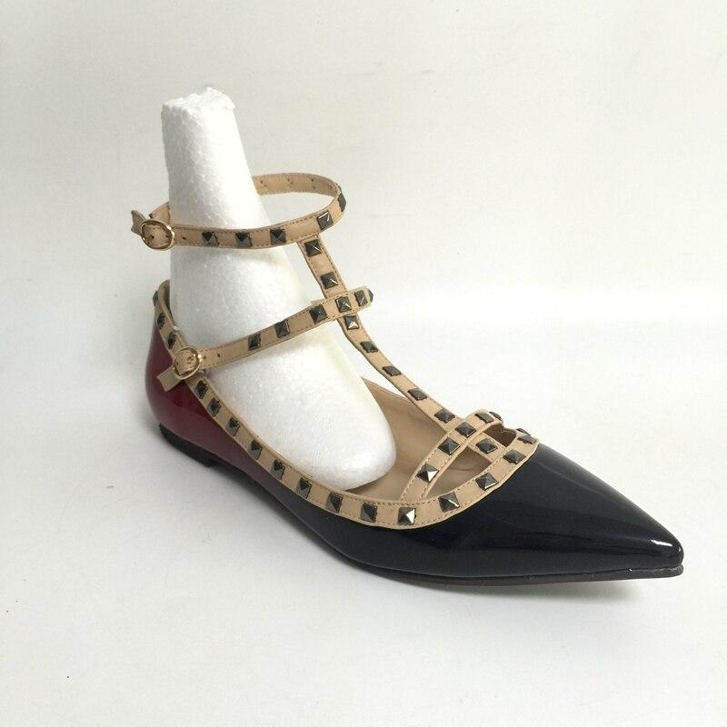 Taille Chaussures Noir Talon La Bout Faible 15 De Pointu Couleur Appartements Rouge Plus Plat Gradient Femmes wpq6Yxvv