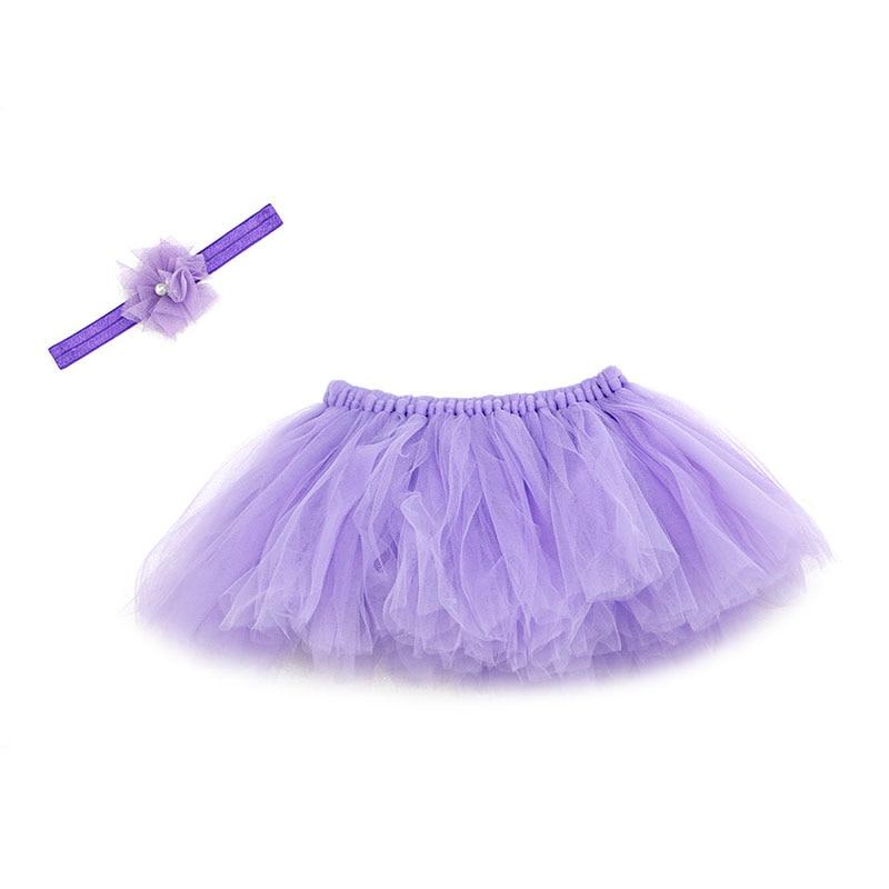 NoEnName-Null милый, для новорожденных девочек юбка-пачка и повязка на голову с цветком, наряд для фотосессий, Рождественский Костюм - Цвет: Purple