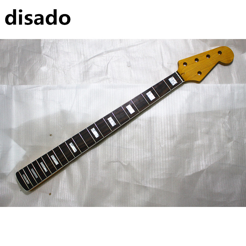 disado 21 frets five strings maple electric bass guitar neck with rosewood fingerboard yellow color glossy paint guitar parts
