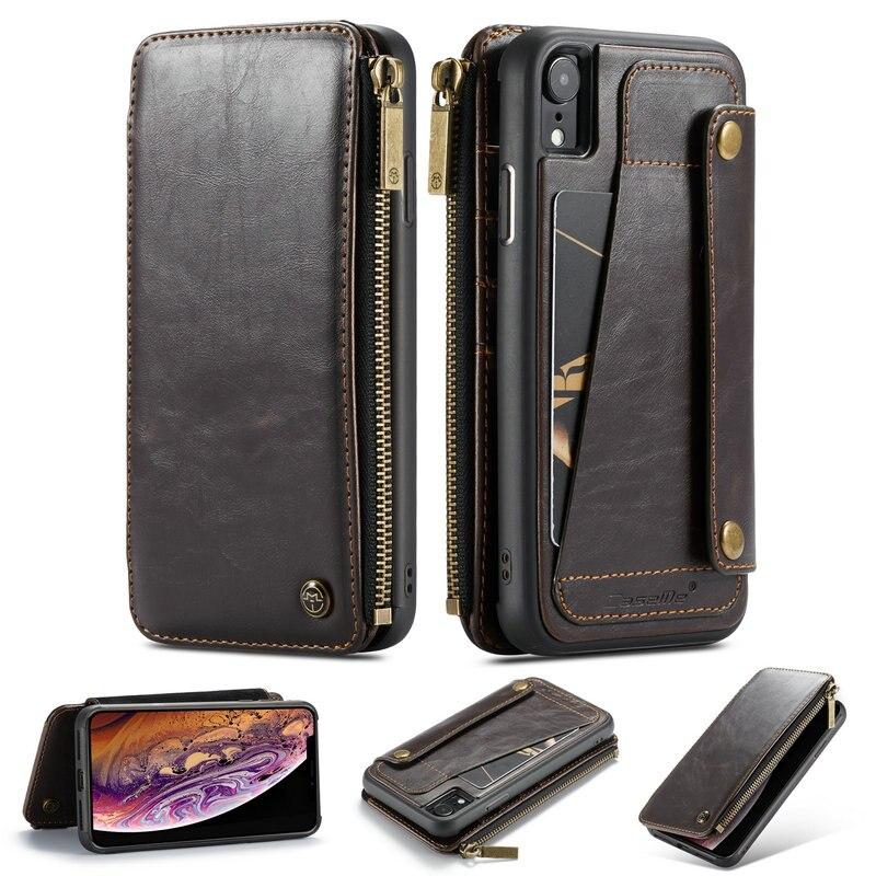CaseMe Cassa Del Raccoglitore Per il iphone XS XS Max XR Tasca della Chiusura Lampo di Slot Per Schede di Credito Posteriore Per iPhone X 7 6 8 più Custodia In Pelle Staccabile