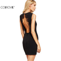 COLROVE Sexy Ladies Black Lace Trim Open Back Sheath Dress Women O Neck Sleeveless Backless Bodycon