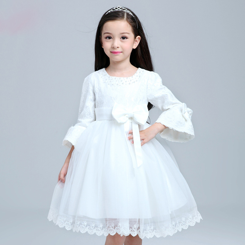 Kids long sleeve white dress big bow girls lace wedding for Wedding dress for kid girl