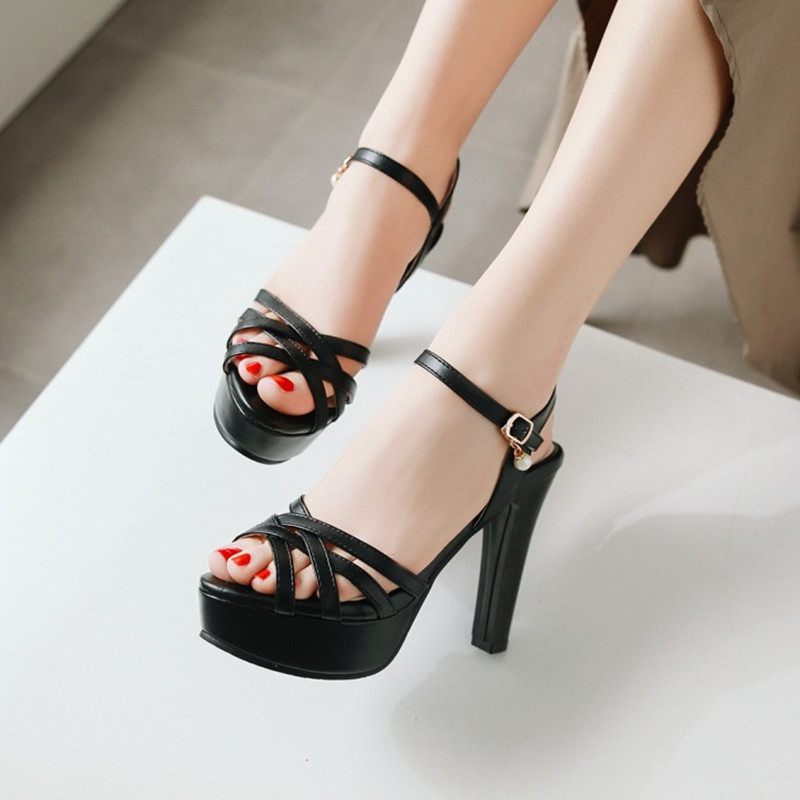 Plus Size 34 43 New Platform Sandals Women Fashion Summer Shoes Extreme High Heel Women Peep Toe Ankle Strap Sexy Party Pumps in High Heels from Shoes