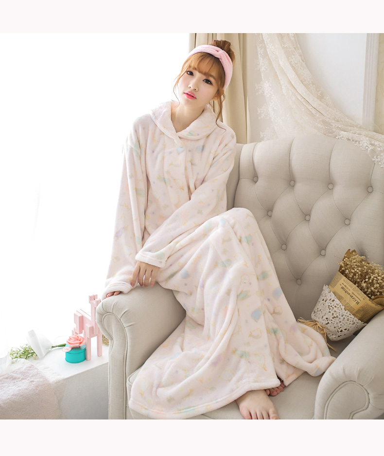 autumn winter adult women girl soft flannel nightgown prints pockets long sleeve sweet ankle - Flannel Nightgowns