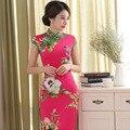 Retro estilo Chino Cheongsam Tradicional Vestido Qipao Elegante Cuello Mao Manga Corta Estampado floral Elástico Cheongsams