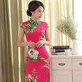 Stylish Retro Chinese Cheongsam Traditional Dress Qipao Elegant Mandarin Collar Short Sleeved Floral Print Elastic Cheongsams