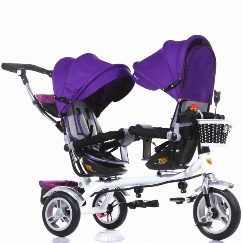 3 Wheel Twins Stroller Double Seat Tricycle Shockproof Baby Stroller 3 in 1 Portable Pram Mutiple Child Kid Bicycle Kinderwage baby stroller pram bb rubber wheel inflatable tires child tricycle infant stroller baby bike 1 6 years old bicycle baby car