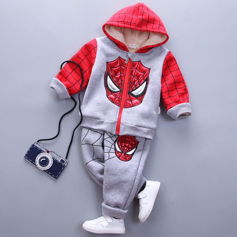 ФОТО spiderman children warm set baby boys spider man thicken winter sport suits 1-4 years kids hoodies+pants sets clothes tracksuits