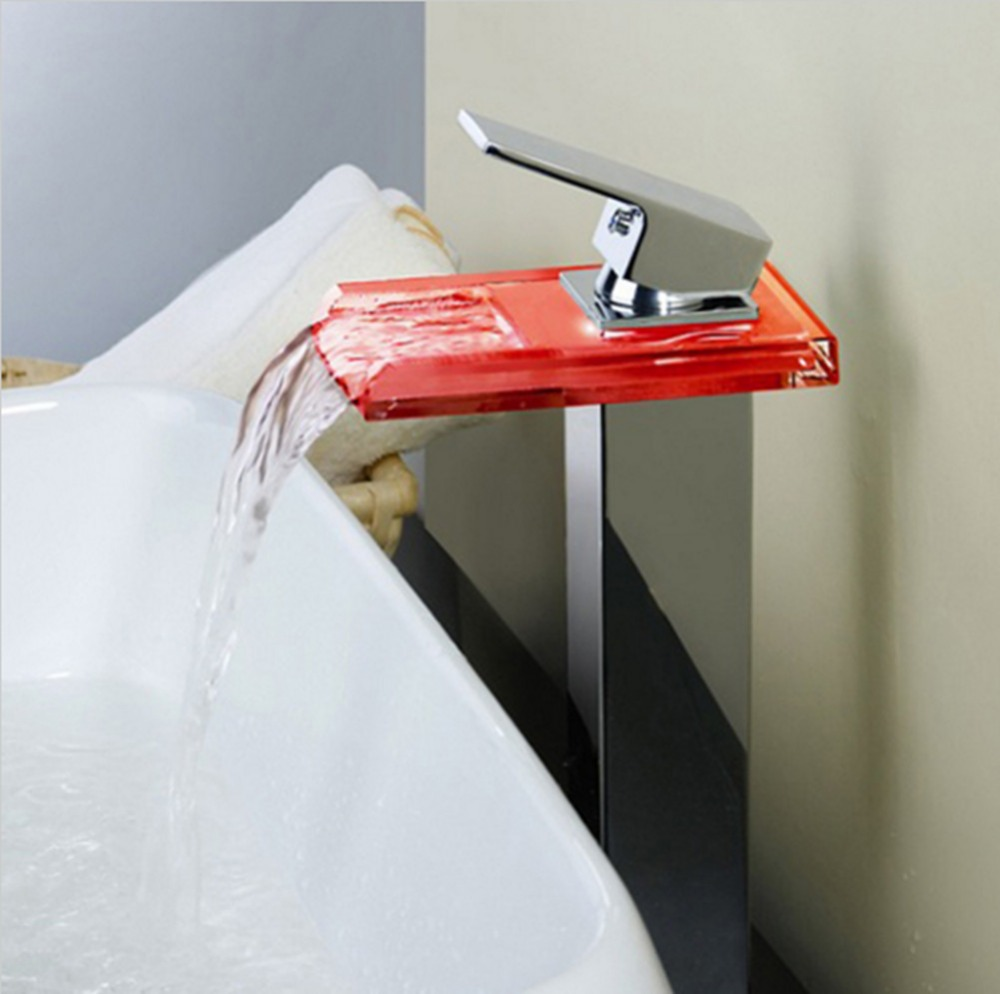 Bathroom Sink LED Glass Faucet, RBG 3 Colors Changing Light Waterfall Spout Single Hand  ...