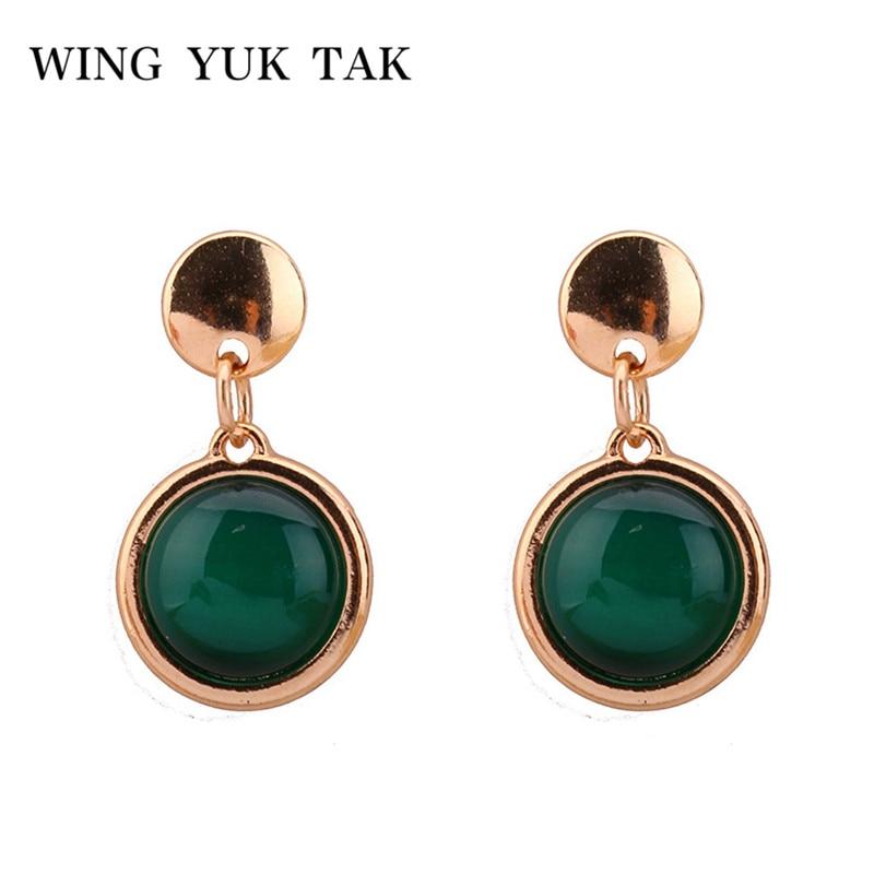 wing yuk tak Fashion Simple Earrings Beautiful Jewelry Trendy Classic Green Opal Earrings for Women Best Gift Brincos