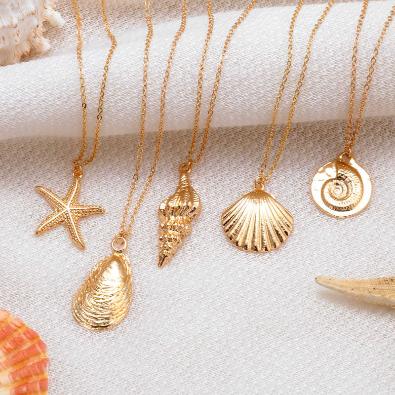 Boho Shell Pendant Necklace for Women Long Chain Round Charm Statement Choker 2019 Collares Necklace Wedding Jewelry