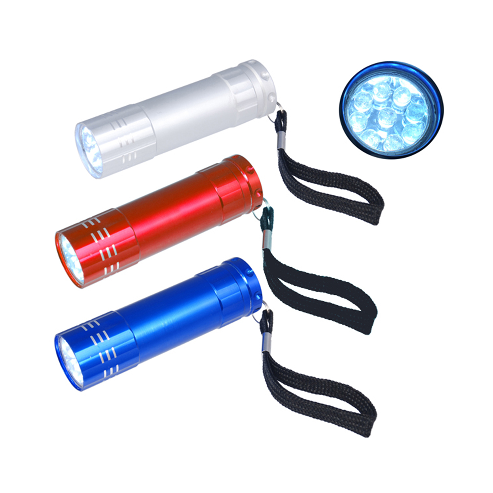 LED Torch,Potable Super Bright 9 Bulb Flashlight With Strap,Promotion Gift Cheap Giveaway