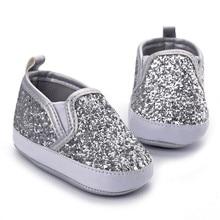 Новорожденная девочка Девочки Мальчики мягкие детские туфли подошва противоскользящие детские кроссовки туфли с блестками