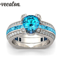 Vecalon Women Anniversary Ring Sku Blue 5A Zircon Cz White Gold Filled Wedding Band Ring Set