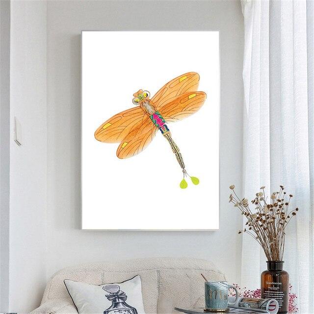 Nordique Affiches Et Gravures Mur Art Toile Peinture Aquarelle Orange  Libellule Mur Photos Pour Salon Moderne