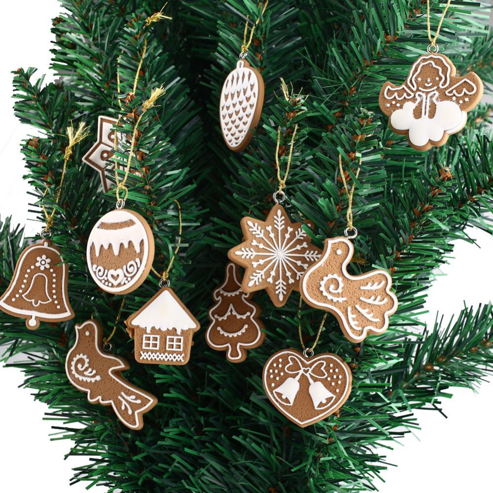 11piece Polymer Clay Fimo Christmas Tree Ornaments Snowflake Bell Xmas  Party Home Christmas Decor