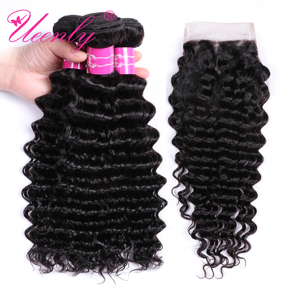 UEENLY Deep Wave Bundles With Closure Non Remy Human Hair Bundles With Closure Brazilian Hair Weave Bundles With Closure