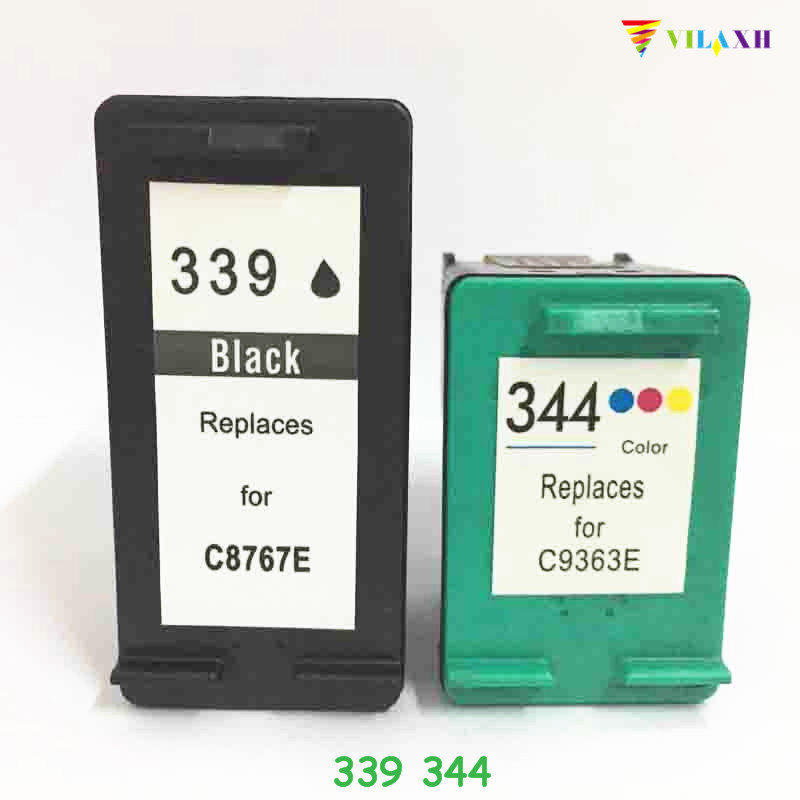 vilaxh 339 344 Compatible Ink Cartridge Replacement For HP 339 344 for Deskjet 460 5740 5745 Photosmart 2575 2610 2710 Printer