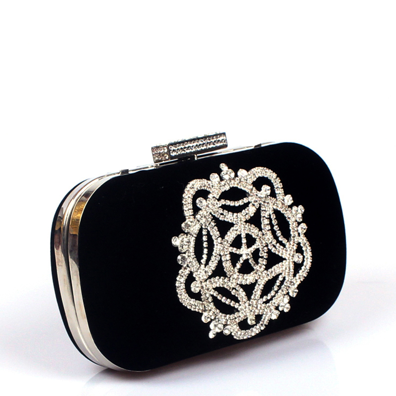 Diamonds velvet women bag day clutches small purse bag crystal evening bags black red candy color