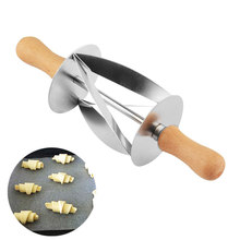 Stainless Steel Croissant Bread Dough Cutter Roller Wheel Dough Pastry Knife Wooden Handle Kitchen Baking Knife(China)