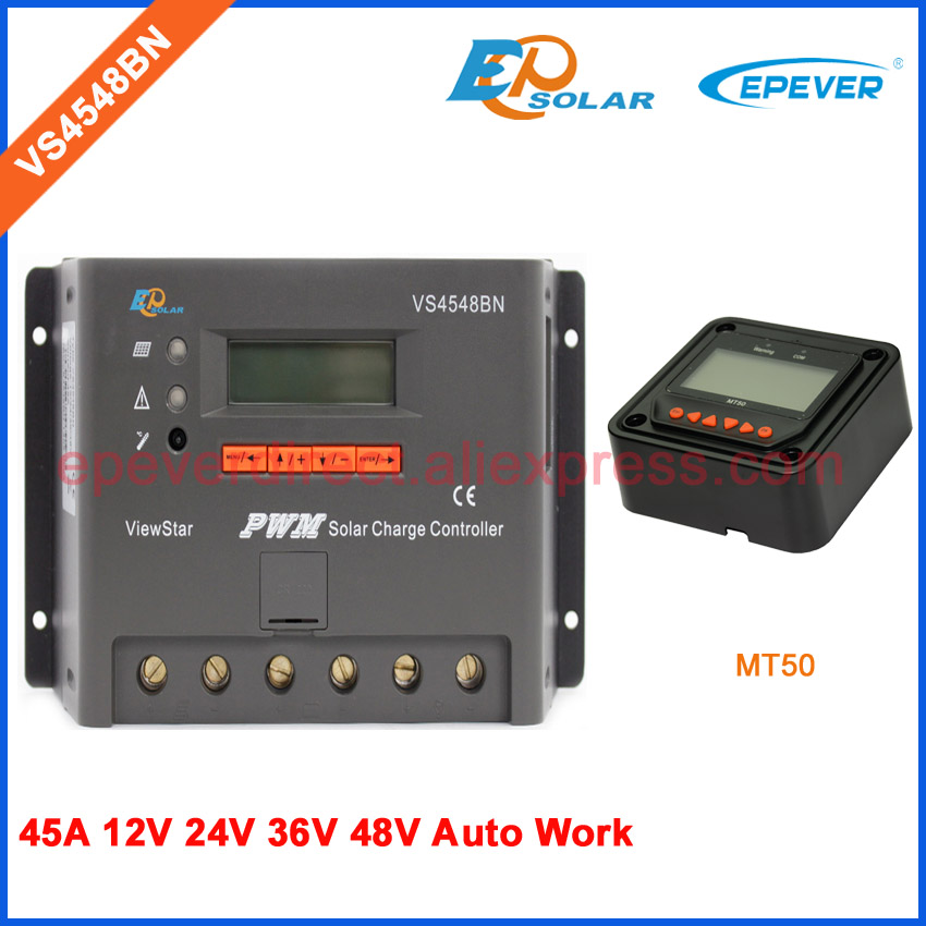PWM 45A 45amp solar panel charger battery regulator VS4548BN 45A 45amp with MT50 remote meter 12v 24v 36v 48v auto type vs4548bn 45a 24 48v auto pwm controller network access computer control can connect with mt50 for communication
