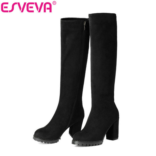 Esveva/2017 г. Сапоги до колена зимняя женская обувь элегантные полусапожки скраб на квадратном высоком каблуке с молнией Модные женские высокие ботинки размеры 34–43
