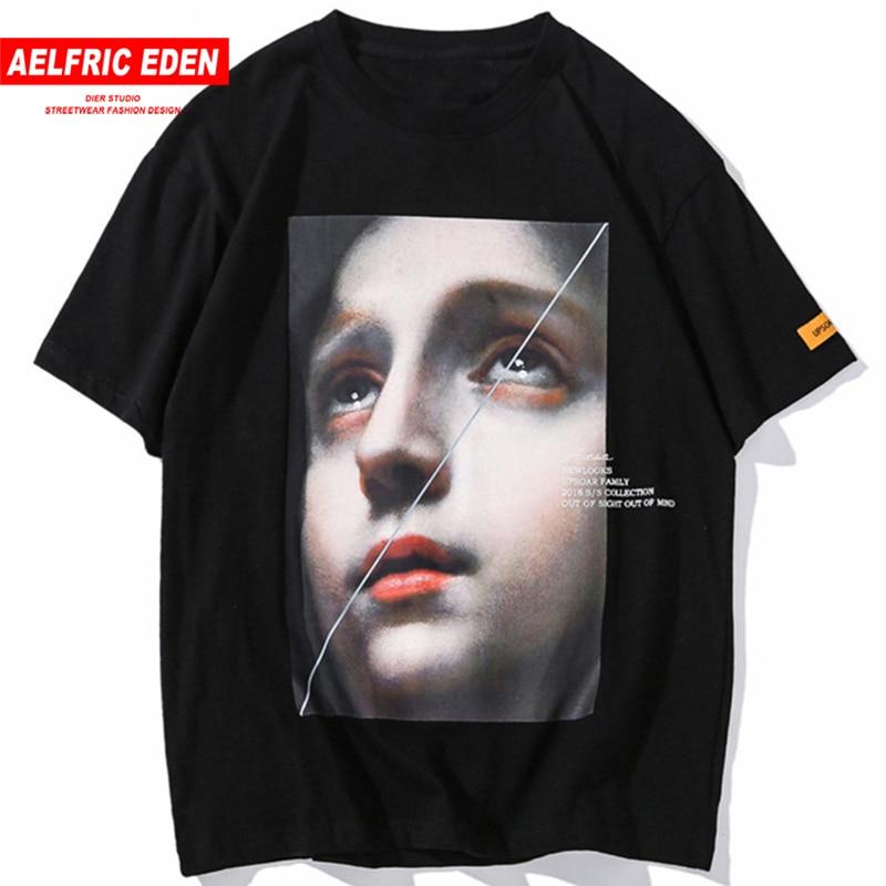 Aelfric עדן מצחיק קטן ילדה מודפס כותנה מקרית T חולצה Streetwear גברים 2018 Harajuku טי חולצה אופנה קצר שרוול UP04