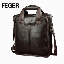 FEGER Classic Solid Business Men Genuine Leather Shoulder Bag Single Real Cowhide Handbag Messenger Bag With