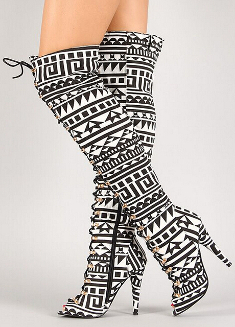 New Designer 2015 Tribal Lace Up Peep Toe Thigh High Boot Black ...