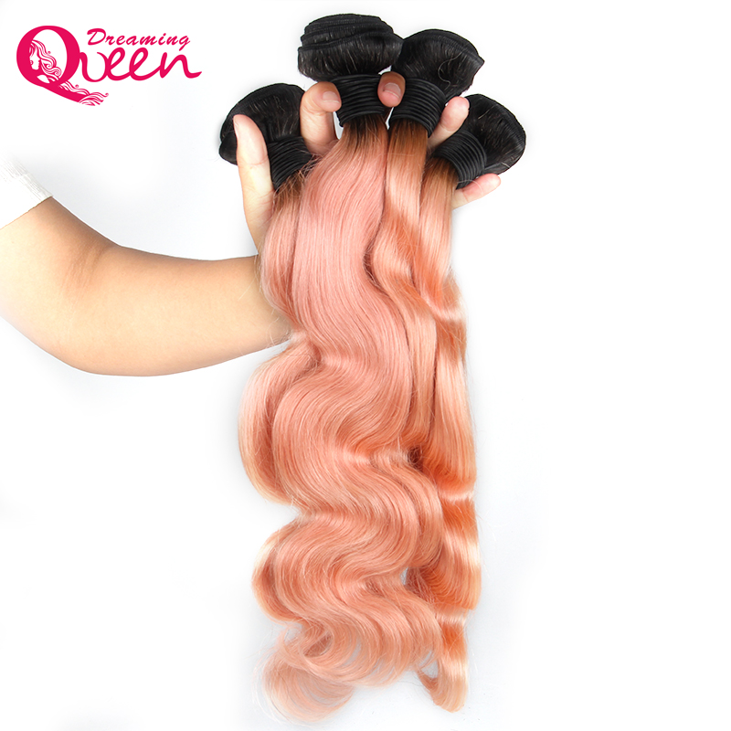 1B Pink Ombre Body Wave Brazilian Human Hair Weave Bundles Non Remy Peachy Ombre Hair Extensions