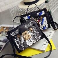 Mode schlangenhaut muster color mini box handtasche damen totes umhängetasche kuriertasche flap geldbörse 3 farben