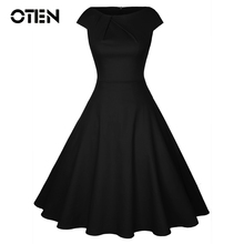 OTEN Summer Clothing Women Cap Sleeve O Neck Front Ruched high waisted Vintage pin up Rockabilly Swing Elegant pleated dresses все цены