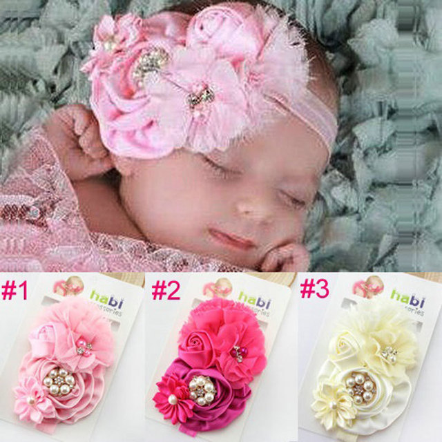 Child flower headband Kids headbands Newborn hair accessories Little girl  christening hairband Hair Bows Photo prop 1pc HB004 79107d077b8