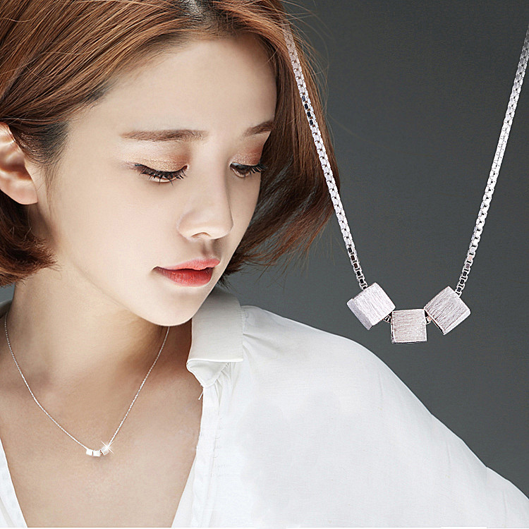 2017 New Arrivals 925 Sterling Silver Three Box Cube Necklaces Pendant For Women Fashion Sterling-silver-jewelry