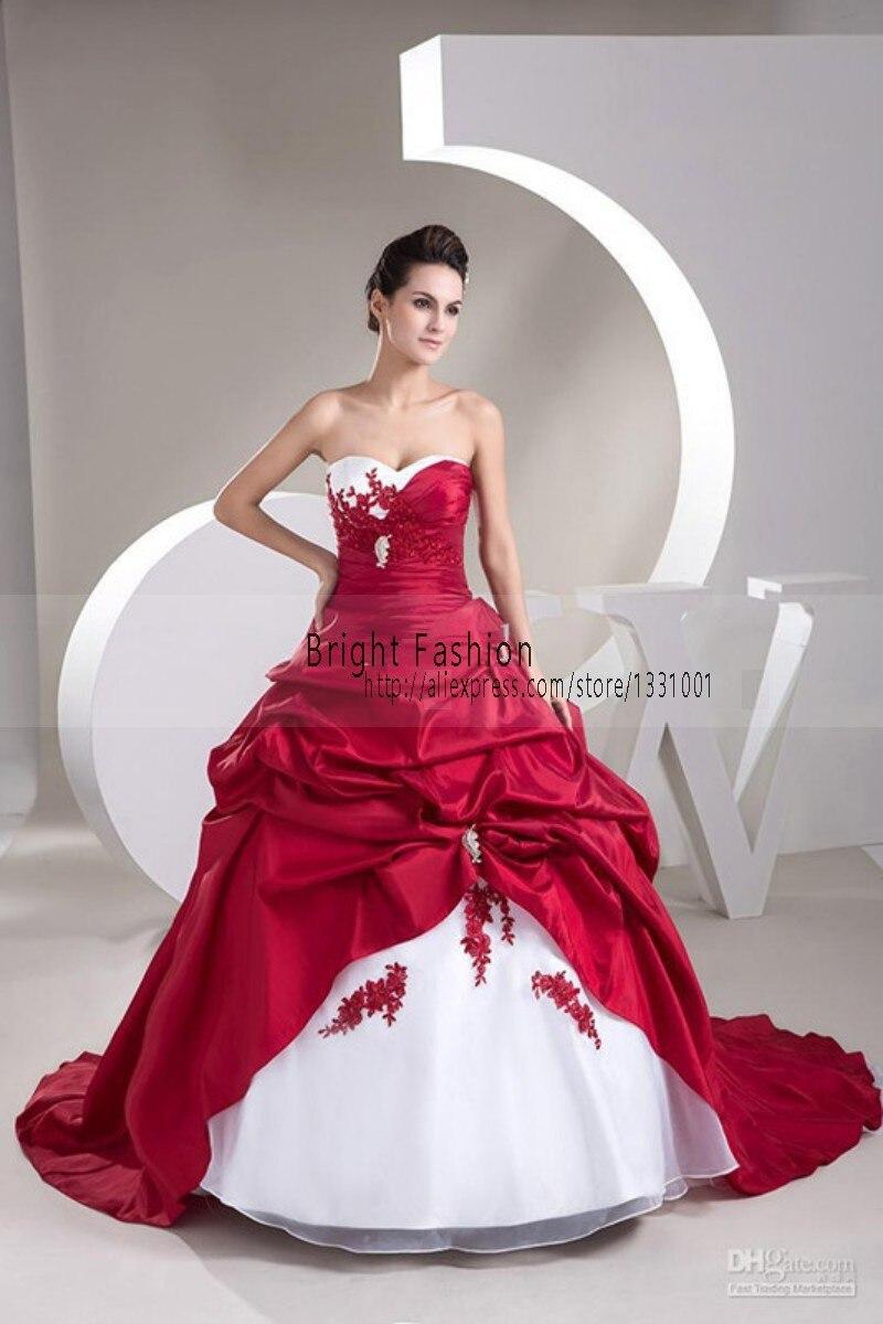 Weiß Und Rot Hochzeitskleid Billig Brautkleider Schulterfrei ...
