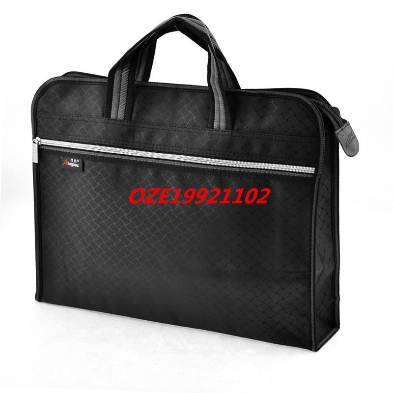 1PCS Office Nylon 2 Pockets Zip Up File Tote Documents Organizer Holder Bag Black mpower 1502 1pcs zip